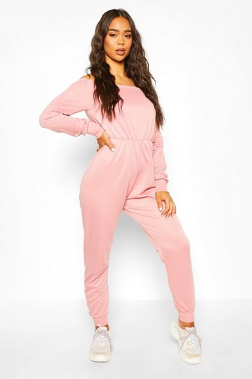 Pink Bardot Long Sleeve Loungewear Jumpsuit