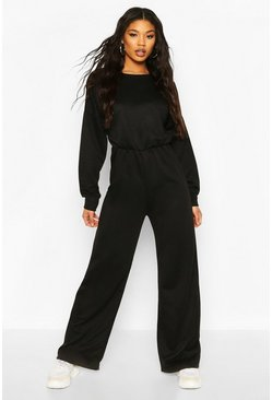 Black Long Sleeve Flare Jumpsuit