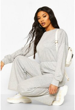 Grey marl Long Sleeve Flare Jumpsuit