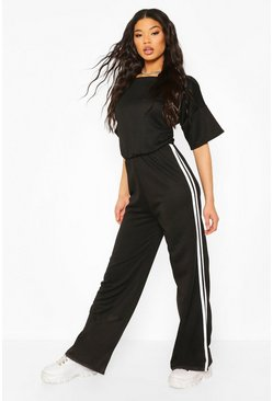 Black Side Stripe Short Sleeved Jumpsuit