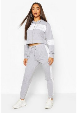 Grey marl Woman Script Colour Block Tracksuit