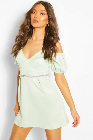 Mint Cold Shoulder Puff Skater Dress