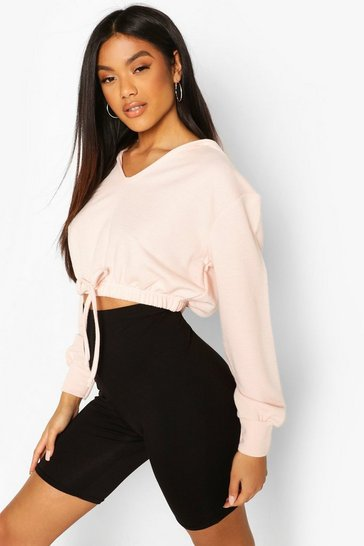 Nude Hooded Crop Sweat Top & Cycling Short Co-Ord
