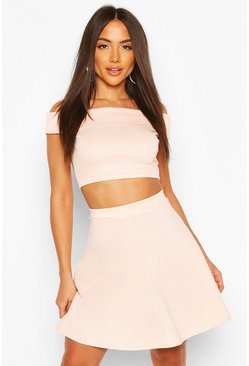 Blush Bardot Top & Skater Skirt Co-Ord Set
