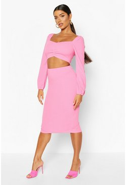 Volume Sleeve Peasant Top And Midi Skirt Co-ord, Hot pink