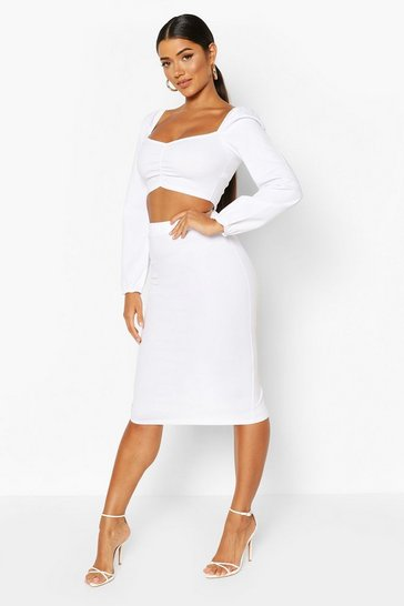 White Volume Sleeve Peasant Top And Midi Skirt Co-ord
