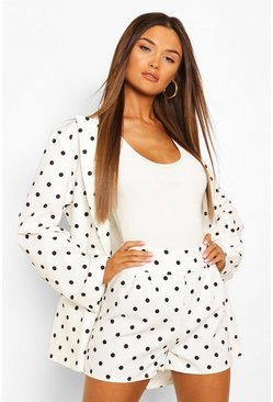 White Pleated Front Polka Dot Tailored Shorts