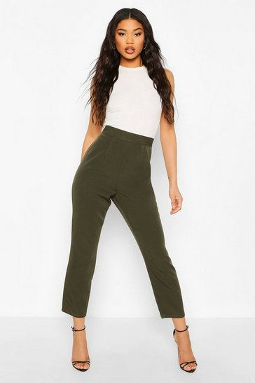 Khaki Woven Tapered Tailored Trouser