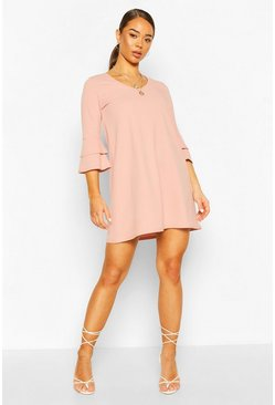 Dusky pink Flute Sleeve Shift Dress