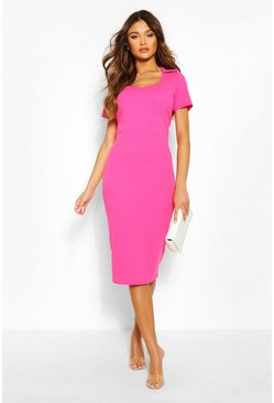 Hot pink Collared Structured Midi Dress