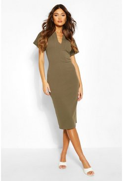 V Detail Shift Dress, Khaki