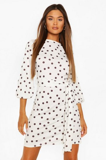 White Polka Dot Belted Shift Dress