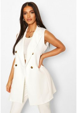 White Double Breasted Sleeveless Blazer