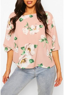Blush Floral Print Batwing Sleeve Blouse