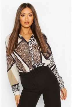 Animal Print Oversized Pocket Detail Shirt, Brown