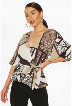 Brown Animal Print Frill Sleeve Blouse