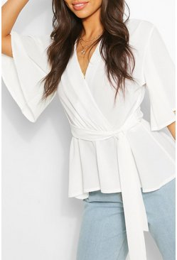 Ivory Frill Sleeve Blouse