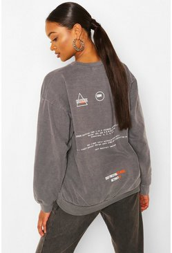 Charcoal Care Label Back Print Washed Sweat