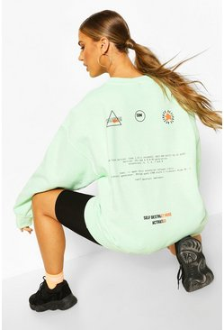 Mint Care Label Back Print Washed Sweat