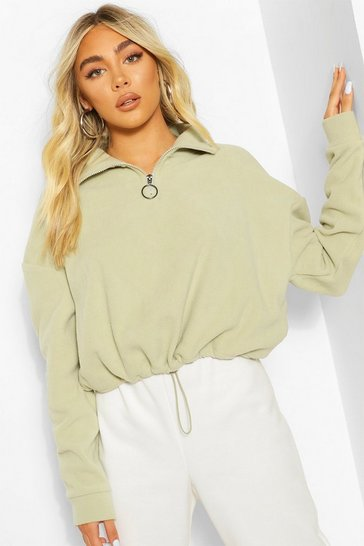 Light khaki Cropped Fleece O-Ring Drawstring Sweater