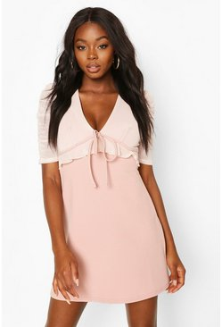 Blush Ruched Mesh Sleeve Skater Dress With Tie Front