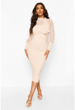 Blush Ruched Side Midi Dress With Mesh Feature Detail