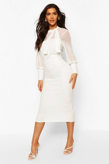 Ivory Ruched Side Midi Dress With Mesh Feature Detail