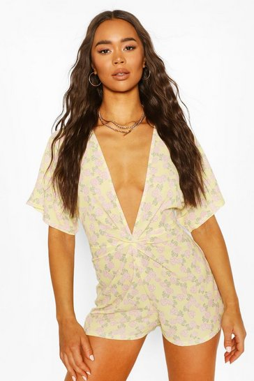 Lemon Rose Print Front Knot Playsuit