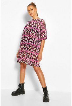 Black Heart Print Mesh T-shirt Dress