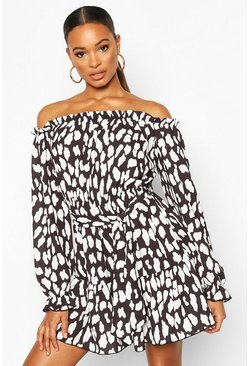 Black Dalmation Print Bardot Dress