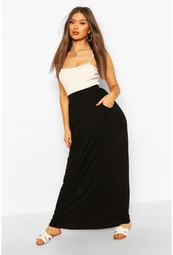 Black Pocket Side Floor Sweeping Maxi Skirt
