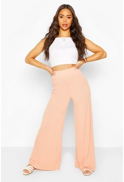 Peach Extreme Wide Leg Ribbed Trousers