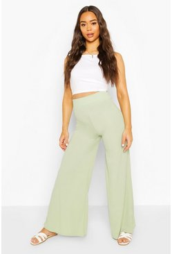 Sage Extreme Wide Leg Ribbed Trousers