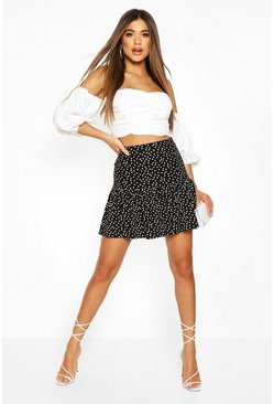 Black Polka Dot Drop Hem Mini Skirt