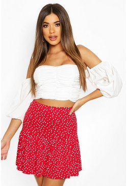 Red Polka Dot Drop Hem Mini Skirt