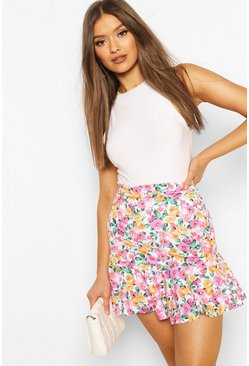Drop Hem Floral Mini Skirt, White