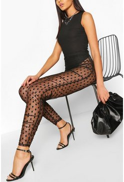 Dobby Mesh Ruched Legging, Black