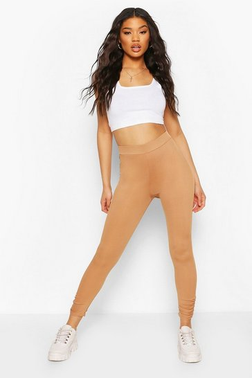 Camel Ruched Ankle Ribbed High Waist Legging
