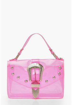 Pink Buckle & Stud Detail Neon Clear Bag & Chain