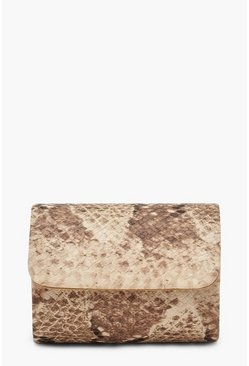 Natural Snake Structured Mini Clutch Bag & Chain