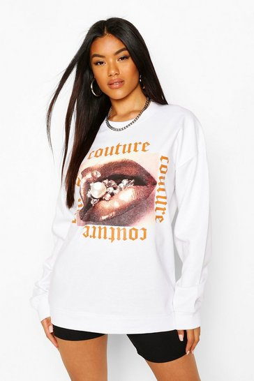 White Couture Print Slogan Sweatshirt