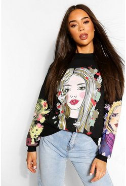 Face Print Sweatshirt, Black