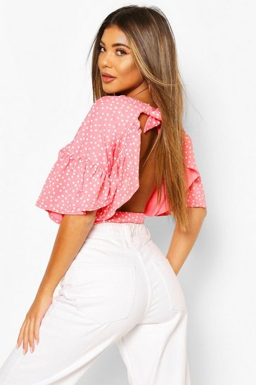 Coral Polka Dot Ruffle Open Back Tie Top