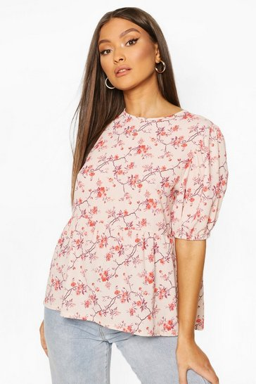 Stone Floral Puff Sleeve Woven Smock Top