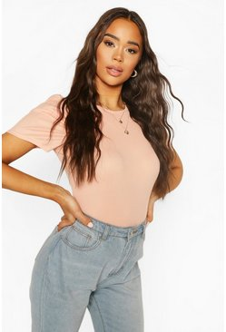 Pink Short Sleeved Ribbed Body