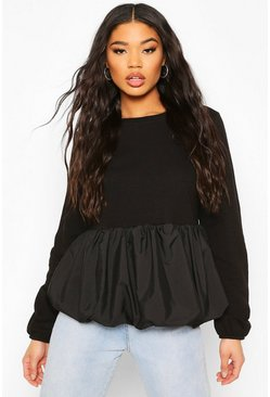 Black Contrast Peplum Puff Sweat