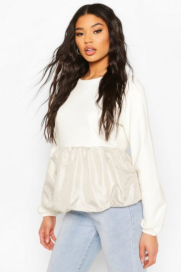 Cream Contrast Peplum Puff Sweat