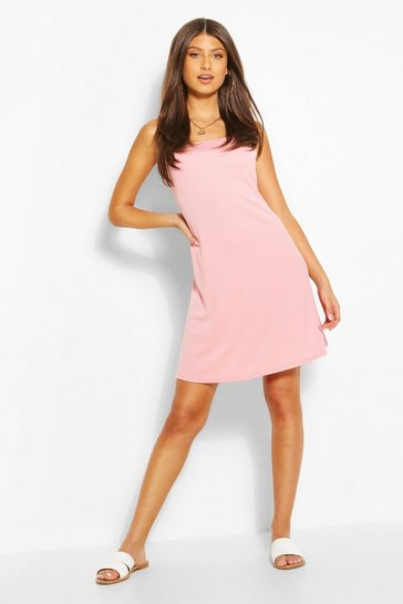 Pink Rib Tie Shoulder Square Neck Swing Dress