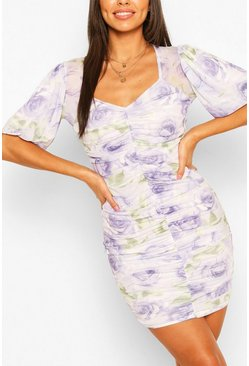 Lilac Floral Mesh Print Ruched Midi Dress