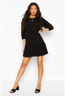 Black Bubble Hem Smock Dress